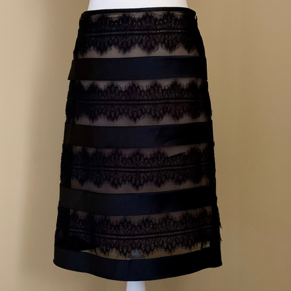 JS Collections Dresses & Skirts - JS Collections Nude Underlay Black Lace Skirt Sz 6